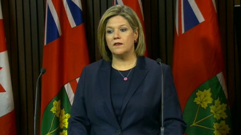 NDP Leader Andrea Horwath addresses media, Wednesday, March 28, 2012.