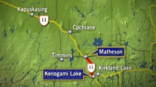 A stretch of Highway 11 north of Kirkland Lake, Ont. is shut down after an armoured vehicle crashed and scattered millions of coins. Wednesday, March 28, 2012.
