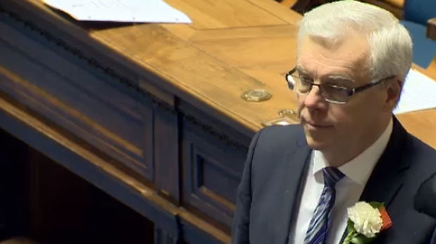 Manitoba Premier Greg Selinger stands on Nov. 20, 2014, the day the throne speech was read out in the legislature.