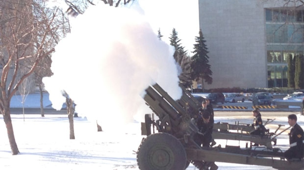 Artillery guns on the Manitoba legislature grounds were set off by the Canadian Forces, prior to the arrival of Lieutenant-Governor Philip Lee for the throne speech.