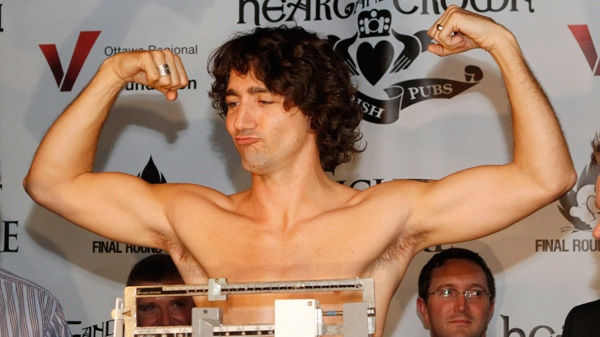 Liberal MP Justin Trudeau takes part in a weigh-in for a upcoming boxing match against Conservative Senator Patrick Brazeau in Ottawa, Wednesday, March 28, 2012.  (Fred Chartrand / THE CANADIAN PRESS)