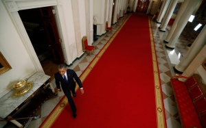 U.S. President Barack Obama arrives to speak at a nationally televised address from the White House in Washington on Thursday, Nov. 20, 2014. (AP Photo/Jim Bourg)