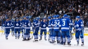 The Toronto Maple Leafs celebrate their 5-2 victory over the Tampa Bay Lightning during NHL hockey action in Toronto on Thursday, Nov. 20, 2014. (Darren Calabrese / THE CANADIAN PRESS)
