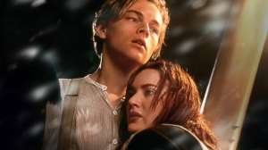Leonardo DiCaprio and Kate Winslet in a scene from the 3-D version of Paramount Pictures' 'Titanic'