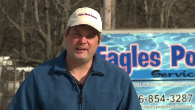 Cory Eagles has received CTV News at 5's Maritimer of the Week award after he built a pool for a puppy in need.