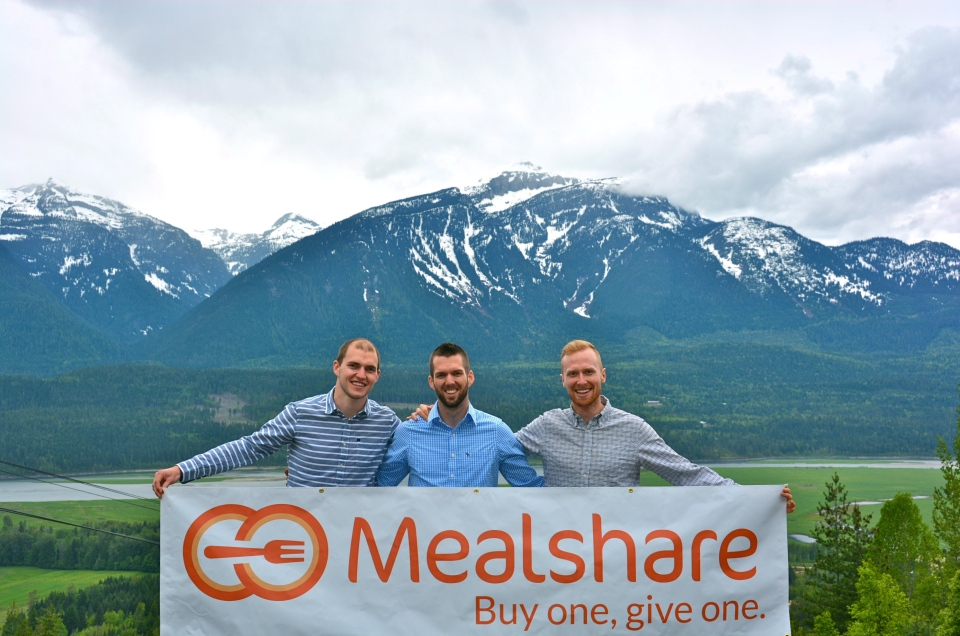 Co-founders of non-profit Mealshare Jeremy Bryant and Andrew Hall pose along with vice-president of business development, Derek Juno, in Revelstoke, B.C., on May 24, 2014. (THE CANADIAN PRESS/ Submitted photo / Breanne Sich)