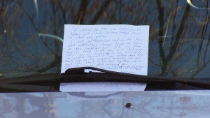 A Good Samaritan left a note telling a university student's car telling him how to boost his vehicle.