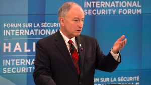 Defence Minister Rob Nicholson addresses the opening session at the Halifax International Security Forum on Friday, Nov. 21, 2014. (Andrew Vaughan / THE CANADIAN PRESS)