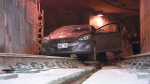 Car stuck in streetcar tunnel