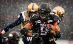 The Calgary Stampeders' Jon Cornish runs for yardage in Calgary, on Nov. 1, 2014. (The Canadian Press / Jeff McIntosh)
