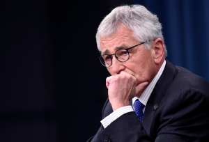 Defence Secretary Chuck Hagel listens to a question during a briefing at the Pentagon on Thursday, Oct. 30, 2014. (AP / Susan Walsh)