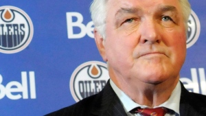 Pat Quinn attends a press conference in Edmonton, Alberta on Tuesday May 26, 2009. (Ben Lemphers / THE CANADIAN PRESS)