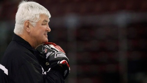 Team Canada's head coach Pat Quinn oversees his teams practice at the world junior hockey championships in Ottawa, Saturday Dec. 27, 2008. (Tom Hanson / THE CANADIAN PRESS)