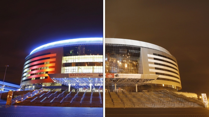 In this combination of two photos showing the Minsk Arena sport complex before and after the lights are turned off (right) during the preparation for worldwide Earth Hour, a global campaign to highlight the threat of climate change, in Minsk, Belarus, late Tuesday, March 27, 2012. Earth Hour will take place on March 31. (AP Photo/Sergei Grits)