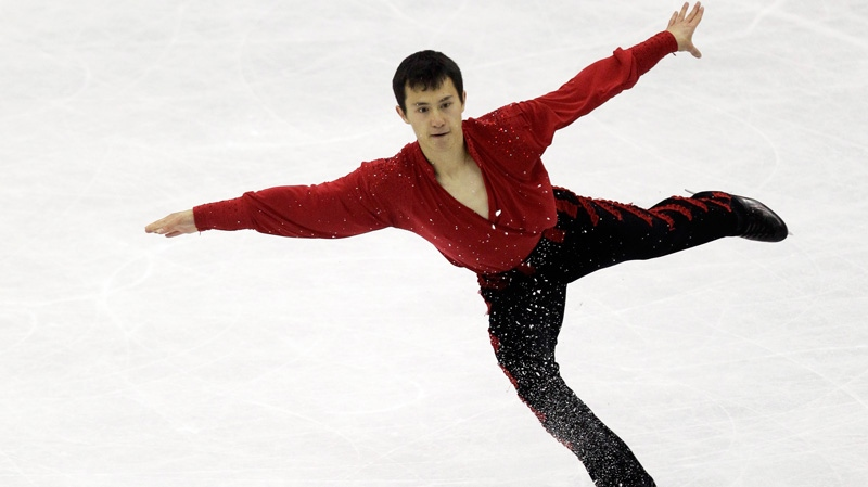 Patrick Chan of Canada performs during his men's free skating program at the 2012 World Figure skating Championships in Nice, southern France