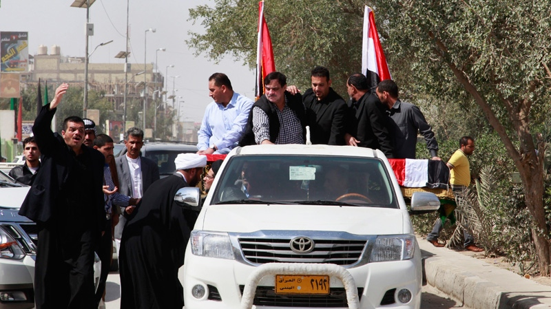 Relatives of Shaima Alawadi hold a funeral procession in the Shiite holy city of Najaf, 160 kilometres south of Baghdad, Iraq