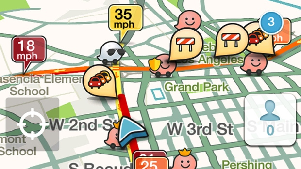 A cellphone travel app called Waze