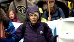 Barbara Grant joined activists near Burnaby Mountain to demonstrate against Kinder Morgan's proposed plan on Tuesday, Nov. 25, 2014.