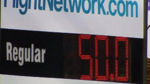 The price of gas is seen at a Toronto gas station that is dropping its price to 50 cents per litre on Monday, April 2, 2012.