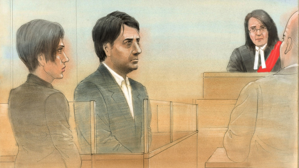 Former CBC radio host Jian Ghomeshi is seen in this court sketch, Wednesday, Nov. 26, 2014. (John Mantha for CTV News)
