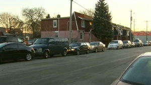 Cars line up at a Toronto gas station that dropping its price to 50 cents per litre on Monday, April 2, 2012.