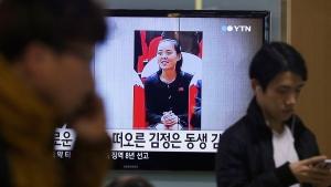 A TV news program shows Kim Yo Jong, on Nov. 27, 2014. (AP / Ahn Young-joon)