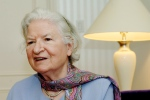 Author P.D. James discusses her novel, 'The Lighthouse,' another mystery featuring Scotland Yard detective Adam Dalgliesh, during an interview in New York on Nov. 27, 2005. (AP / Henny Ray Abrams)