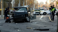 One person is dead following a single-vehicle car crash on Mount Pleasant Rd., Tuesday, April 3, 2012. (Tom Stefanac  / CTV News)