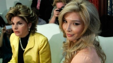 Jenna Talackova, right, who advanced to the finals of the Miss Canada competition, part of the Miss Universe contest, and was recently forced out of the competition, appears with her attorney Gloria Allred at a news conference in Los Angeles Tuesday, April 3, 2012.(AP / Reed Saxon)