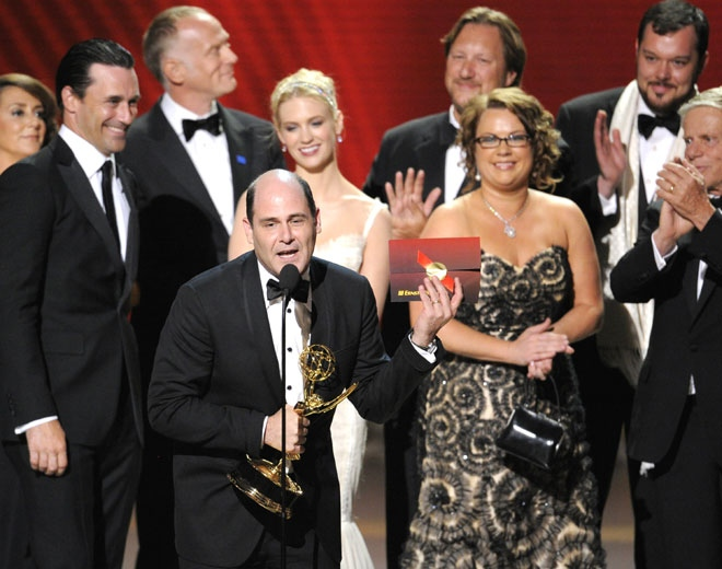 "Producer Matthew Weiner, along with cast and crew, accept the award for the outstanding drama series ""Mad Men"" at the 60th Primetime Emmy Awards Sunday, Sept. 21, 2008, in Los Angeles. (AP / Mark J. Terrill)"