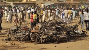 The site of a bomb explosion in Kano, Nigeria, on Nov. 28, 2014. (AP / Muhammed Giginyu)