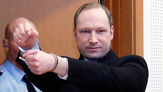 Anders Behring Breivik, a right-wing extremist who confessed to a bombing and mass shooting that killed 77 people on July 22, 2011, arrives for a detention hearing at a court in Oslo, Norway on Monday, Feb. 6, 2012. (AP / Heiko Junge, Scanpix Norway)