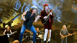 AC/DC's Brian Johnson and Angus Young perform in 2009. (AFP / Sara Johannessen / Scanpix Norway)
