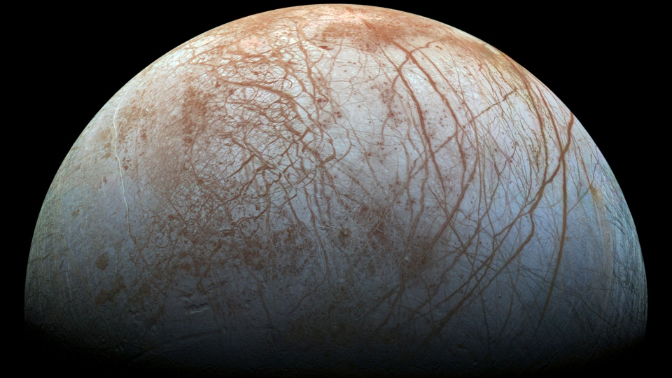 The puzzling, fascinating surface of Jupiter's icy moon Europa looms large in this newly-reprocessed color view, made from images taken by NASA's Galileo spacecraft in the late 1990s. (NASA / JPL-Caltech / SETI Institute)
