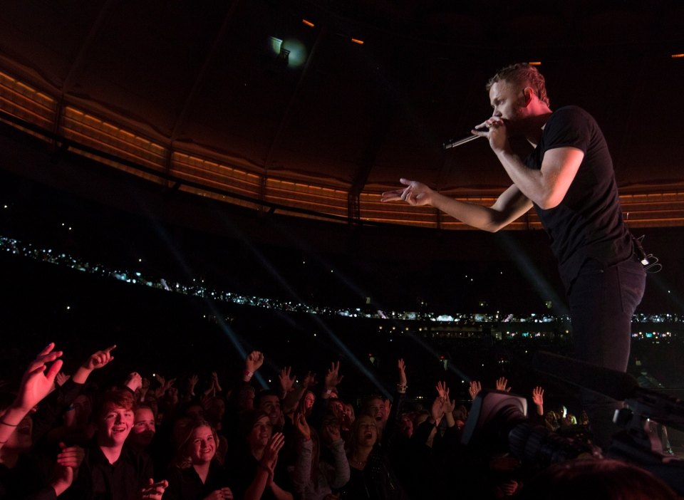 Imagine Dragons perform during the half time show of the 102nd Grey Cup in Vancouver, Sunday, Nov. 30, 2014. (Darryl Dyck / THE CANADIAN PRESS)