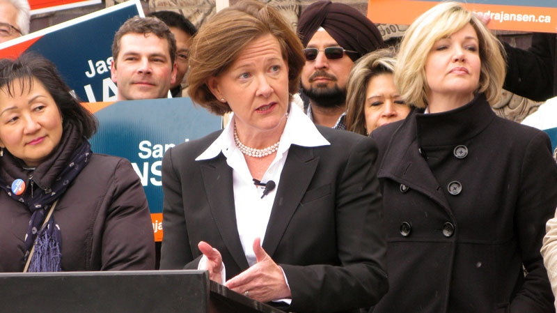 Alberta Premier Alison Redford speaks to reporters at a campaign stop in Calgary on Wednesday April 4, 2012. (Bill Graveland / THE CANADIAN PRESS)