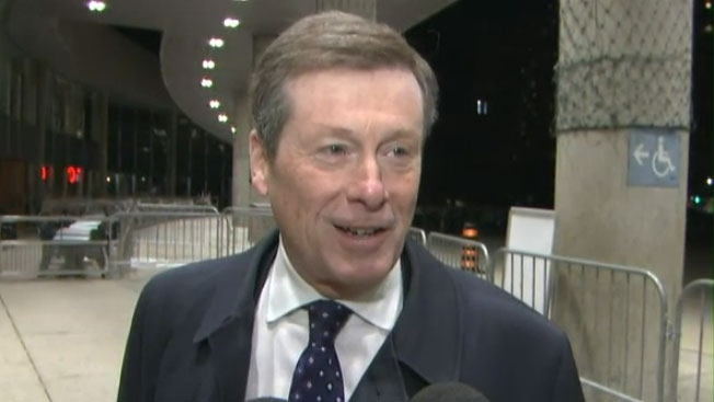 Toronto Mayor John Tory arrives for work at Toronto City Hall at 6:30 a.m. on Monday, Dec. 1, 2014.