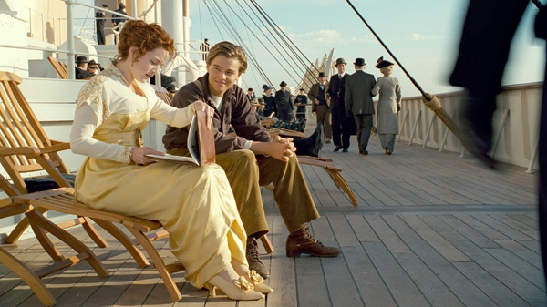 Kate Winslet and Leonardo DiCaprio are shown in a scene from Paramount Pictures' 'Titanic.'