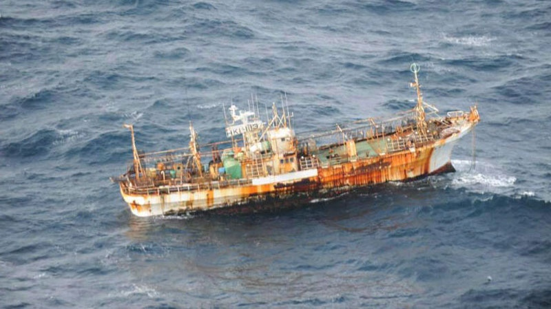 A Japanese fishing boat lost in the Pacific Ocean after the March 2011 earthquake and tsunami was sighted March 20 drifting 150 nautical miles of the southern coast of Haida Gwaii by the crew of an aircraft on a routine surveillance patrol. (THE CANADIAN PRESS/ho-Department of National Defence)