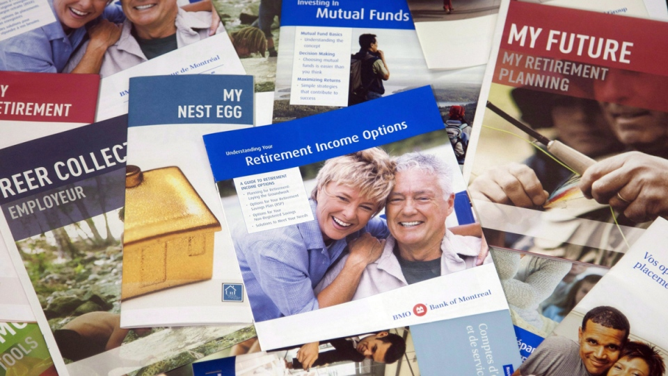 Brochures offering various retirement savings options are pictured, in Montreal, Feb. 3, 2012. (Ryan Remiorz / THE CANADIAN PRESS)