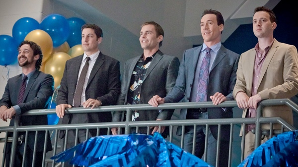 Thomas Ian Nicholas, Jason Biggs, Seann William Scott, Chris Klein and Eddie Kaye Thomas are shown in a scene from Universal Picture's 'American Reunion.'
