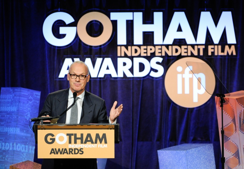 Actor Michael Keaton accepts the 'Best Actor' award for his role in 'Birdman or The Unexpected Virtue of Ignorance' at The Independent Film Project's 24th Annual Gotham Independent Film Awards at Cipriani Wall Street on Monday, Dec. 1, 2014, in New York. (Photo by Evan Agostini/Invision/AP)