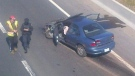 Emergency crews are on the scene of a fatal crash on the QEW in Burlington, between Appleby Line and Burloak Drive, Friday, April 6, 2012.