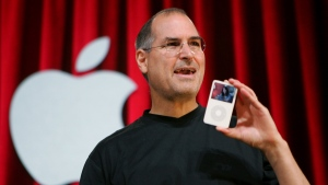 Then-Apple Computer Inc. CEO Steve Jobs in San Jose, Calif., Oct. 12, 2005.  (AP /Paul Sakuma)