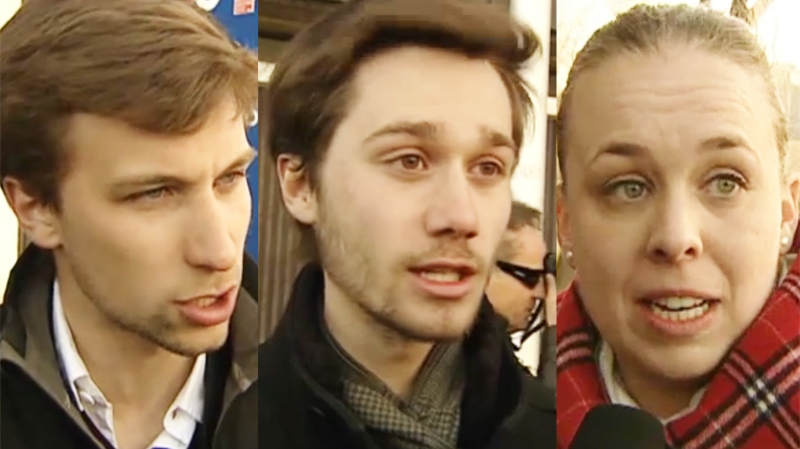 Student tuition protest leaders Gabriel Nadeau-Dubois of CLASSE, Leo Bureau-Blouin leader of FECQ and Martine Desjardins of FEUQ are trying to harmonize their tactics.
