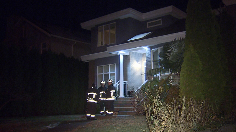 Firefighters found a family of five semi-conscious on the steps of a Vancouver home following a possible carbon monoxide leak. Dec. 3, 2014. (CTV)