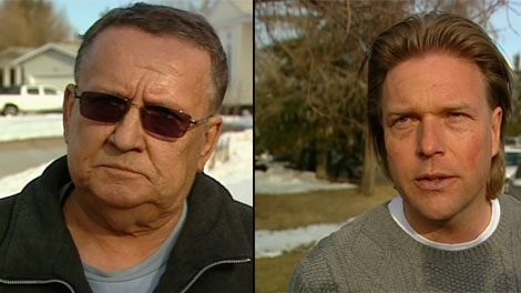 Castle Downs resident Al Michulchuk, seen on the left, is accused of attacking P.C. candidate Thomas Lukaszuk, seen on the right.