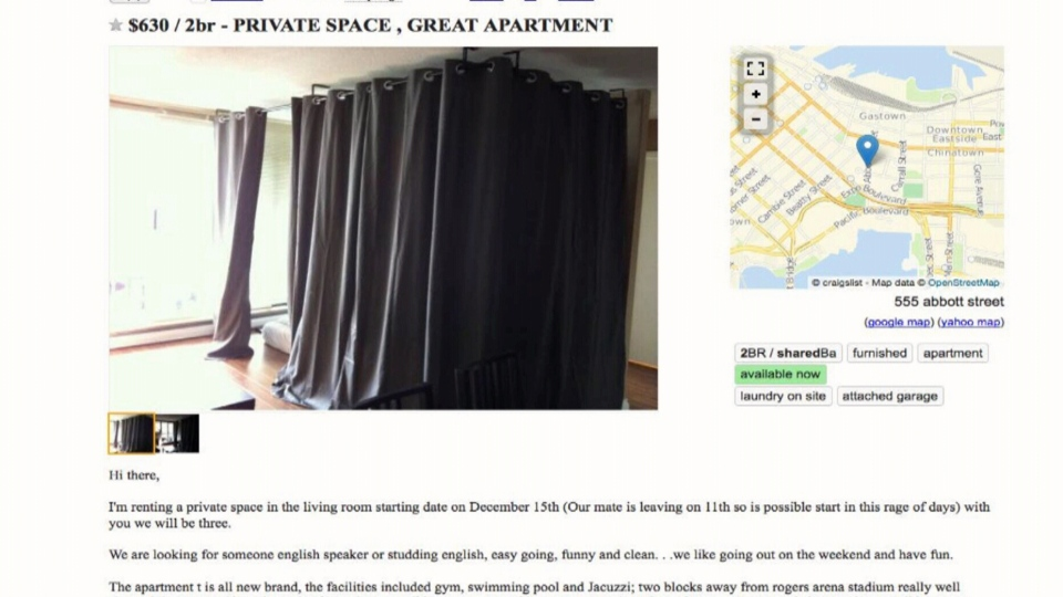 A Craigslist ad for a curtained-off 'private space' in a downtown Vancouver apartment.