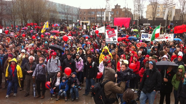 Students held a rally against tuition hikes Monday afternoon at Berri Square. (CTV Montreal/Marc Latendresse)