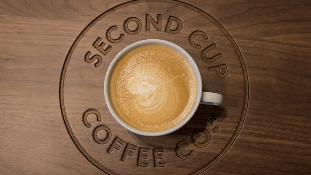 Flat white coffee at a Second Cup Coffee shop